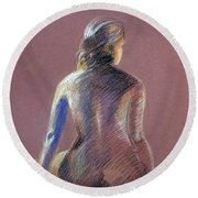 Seated Female Model Round Beach Towel