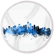 Seattle Washington Skyline Round Beach Towel