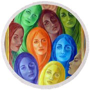 Round Beach Towel featuring the painting Serene Sisters by Sylvia Kula