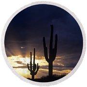 Silhouetted Saguaro Cactus Sunset At Dusk Arizona State Usa Round Beach Towel