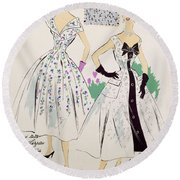 Vintage Fashion Sketches And Fabric Swatches Round Beach Towel