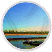 Round Beach Towel featuring the photograph Slow And Steady by Kelly Awad