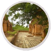 Round Beach Towel featuring the photograph Smaller Temples Next To Dhammayazika Pagoda Built In 1196 By King Narapatisithu Bagan Burma by Ralph A  Ledergerber-Photography