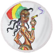 Round Beach Towel featuring the painting Smoking Rasta Girl by Stormm Bradshaw