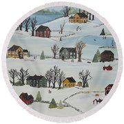 Round Beach Towel featuring the painting Snow Day by Virginia Coyle