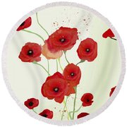Sonata Of Poppies Round Beach Towel by Gabriela Delgado