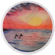 2 Souls Reunited Round Beach Towel