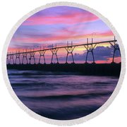South Haven Lighthouse And Pier Round Beach Towel