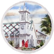 Round Beach Towel featuring the painting St Pauls Episcopal Church  by Kip DeVore