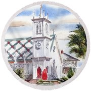 St Pauls Episcopal Church  Round Beach Towel by Kip DeVore