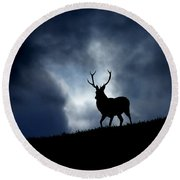 Stag Silhouette Round Beach Towel