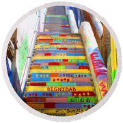 Stairway To Heaven Valparaiso  Chile Round Beach Towel
