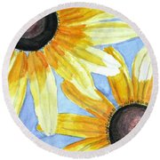 Round Beach Towel featuring the painting Summer Susans by Angela Davies