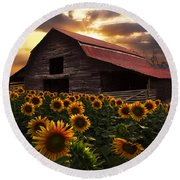 Sunflower Farm Round Beach Towel by Debra and Dave Vanderlaan