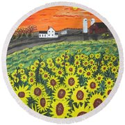 Sunflower Valley Farm Round Beach Towel