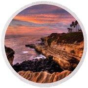 Sunset Cliffs Round Beach Towel