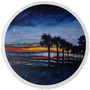 Sunset In St. Andrews Round Beach Towel