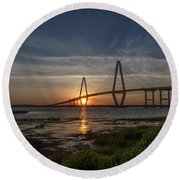 Sunset Over The Bridge Round Beach Towel