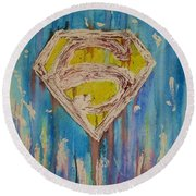 Superman's Shield Round Beach Towel