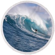 Round Beach Towel featuring the photograph Surfer In The Sea, Maui, Hawaii, Usa by Panoramic Images