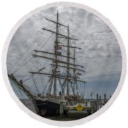 Round Beach Towel featuring the photograph Tall Ship Gunilla by Dale Powell