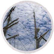 Tall Ship Mast Round Beach Towel by Dale Powell
