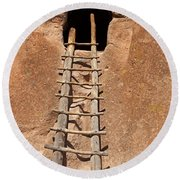 Talus House Front Door Bandelier National Monument Round Beach Towel