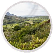 Round Beach Towel featuring the photograph Taro Fields by Suzanne Luft