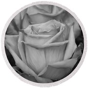 Tea Roses In Black And White Round Beach Towel by Jeanette C Landstrom