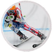 Ted Ligety Skiing  Round Beach Towel