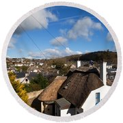 Thatched Cottages Near Dunmore Strand Round Beach Towel