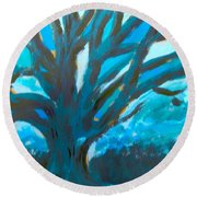 The Blue Tree Round Beach Towel