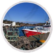The Fishing Harbour, Dunmore East Round Beach Towel