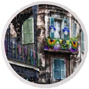 The French Quarter During Mardi Gras Round Beach Towel by Mountain Dreams