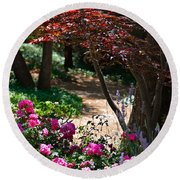 The Garden Path Round Beach Towel by Michele Myers