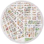 The Greenwich Village Map Round Beach Towel by AFineLyne