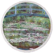 The Japanese Footbridge Round Beach Towel by Claude Monet