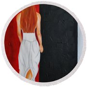 The Mystery Woman Round Beach Towel