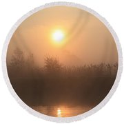 Round Beach Towel featuring the photograph The Peace Of Dawn by Linsey Williams