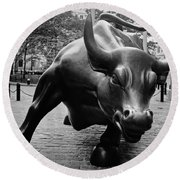 The Wall Street Bull Round Beach Towel