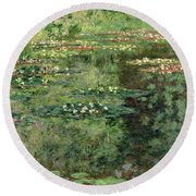 The Waterlily Pond Round Beach Towel