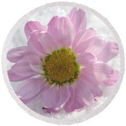 Round Beach Towel featuring the photograph The Whisper Of A Snow Blossom by Angela Davies