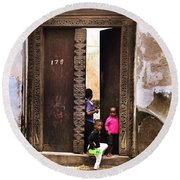 Round Beach Towel featuring the photograph Kids Playing Zanzibar Unguja Doorway by Amyn Nasser