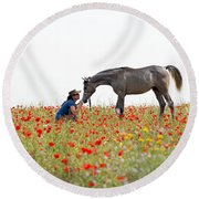 Three At The Poppies' Field... 4 Round Beach Towel