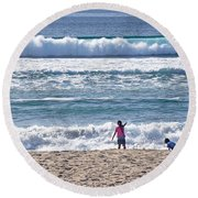 Round Beach Towel featuring the photograph Thundering Waves by Susan Wiedmann