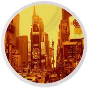 42nd Street And Times Square Manhattan Round Beach Towel
