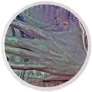Round Beach Towel featuring the photograph Tin Man Hand by Lilliana Mendez