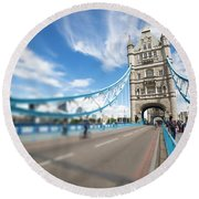 Round Beach Towel featuring the photograph Tower Bridge In London by Chevy Fleet
