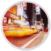 Traffic On The Road, Times Square Round Beach Towel