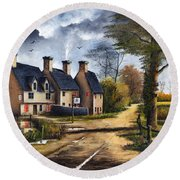 Round Beach Towel featuring the painting Travellers Rest by Ken Wood